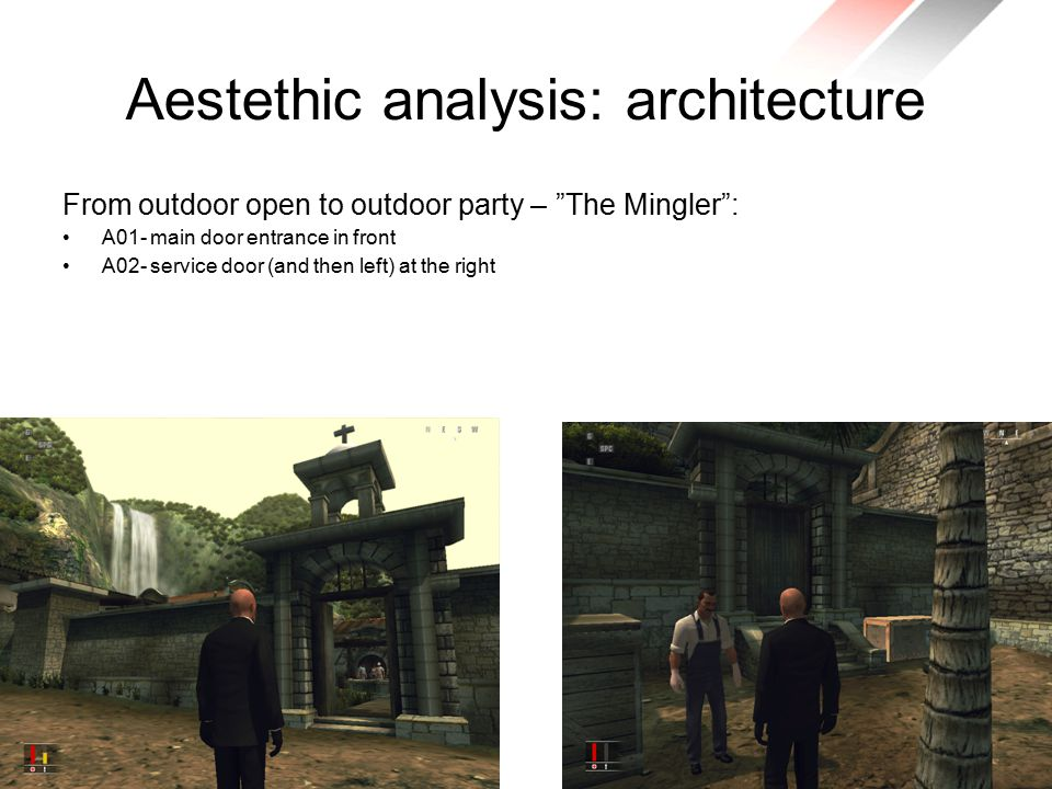 Aestethic analysis: architecture From outdoor open to outdoor party – The Mingler : A01- main door entrance in front A02- service door (and then left) at the right
