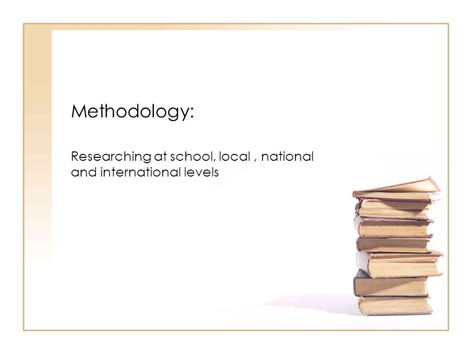 Methodology: Researching at school, local, national and international levels Timescale: –By September 2007, a focus group had been set up and given the above mandate.