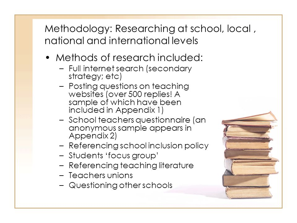 Methodology: Researching at school, local, national and international levels Methods of research included: –Full internet search (secondary strategy; etc) –Posting questions on teaching websites (over 500 replies.