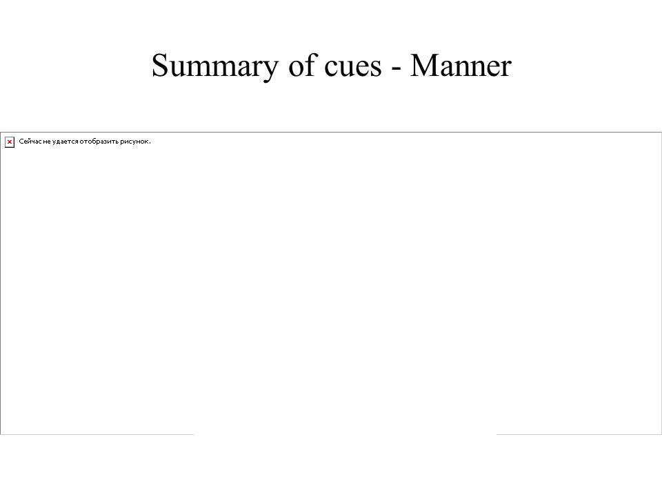 Summary of cues - Manner