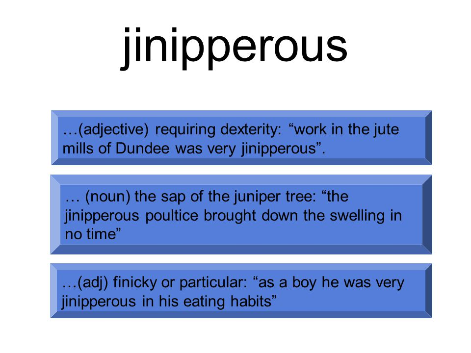 jinipperous …(adjective) requiring dexterity: work in the jute mills of Dundee was very jinipperous .