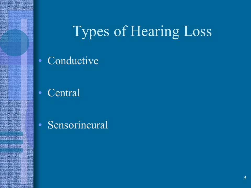 Types of Hearing Loss Conductive Central Sensorineural 5