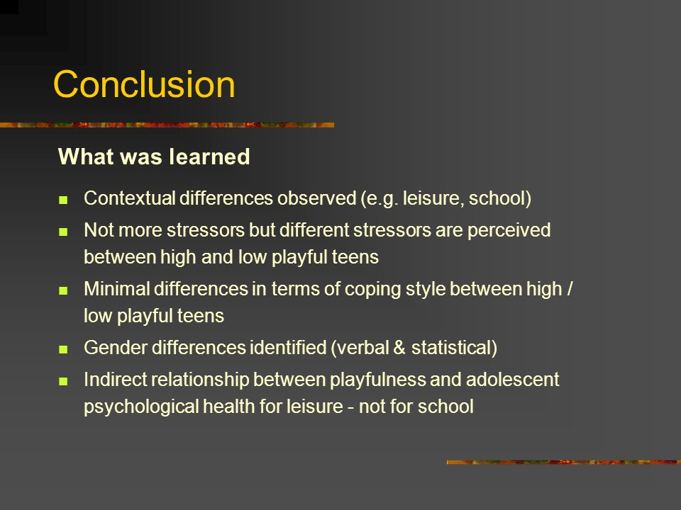 Conclusion What was learned Contextual differences observed (e.g.