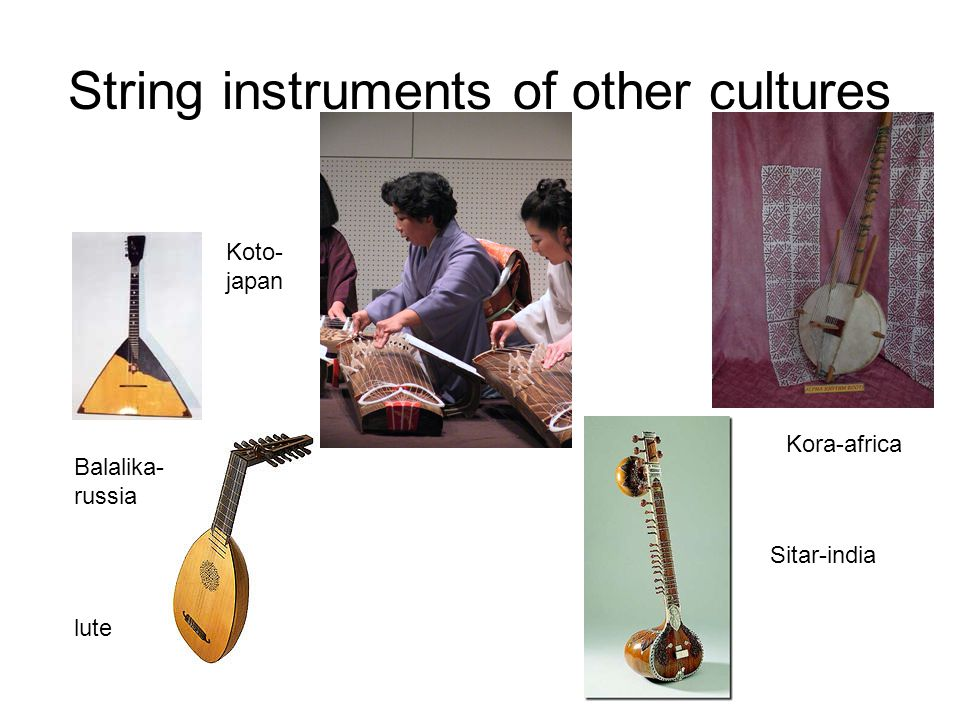 String instruments of other cultures Balalika- russia Kora-africa lute Koto- japan Sitar-india