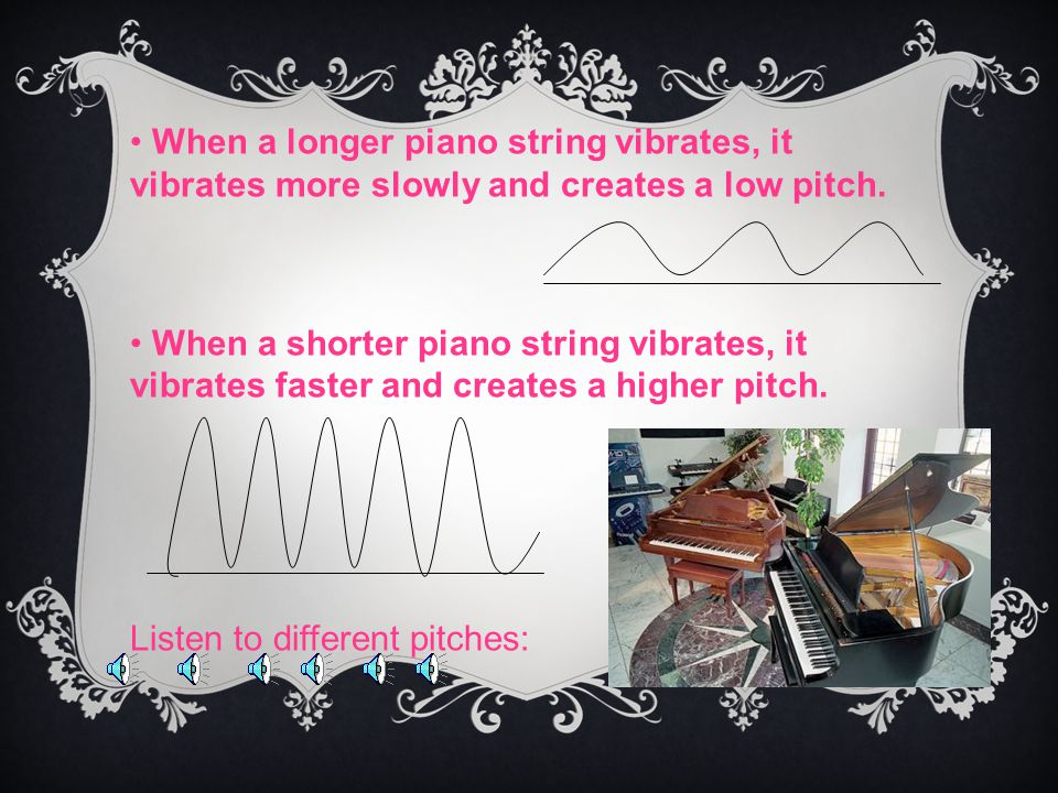 When a longer piano string vibrates, it vibrates more slowly and creates a low pitch.