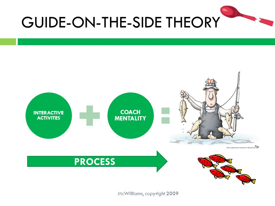 GUIDE-ON-THE-SIDE THEORY McWilliams, copyright 2009 INTERACTIVE ACTIVITES COACH MENTALITY BROKEN SPOON PROCESS