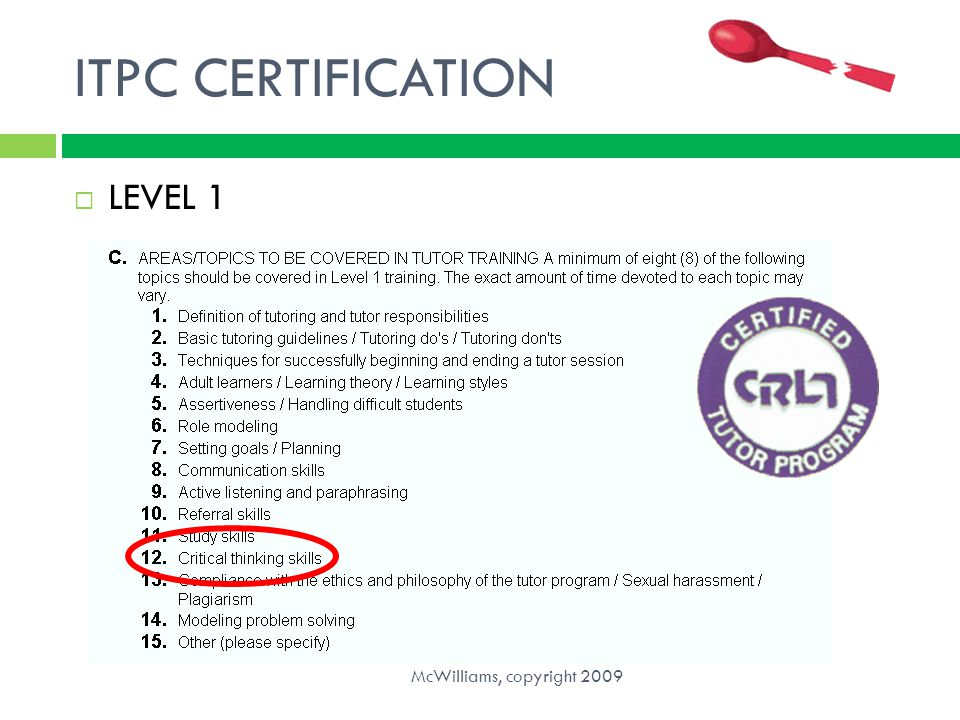 ITPC CERTIFICATION  LEVEL 1 McWilliams, copyright 2009