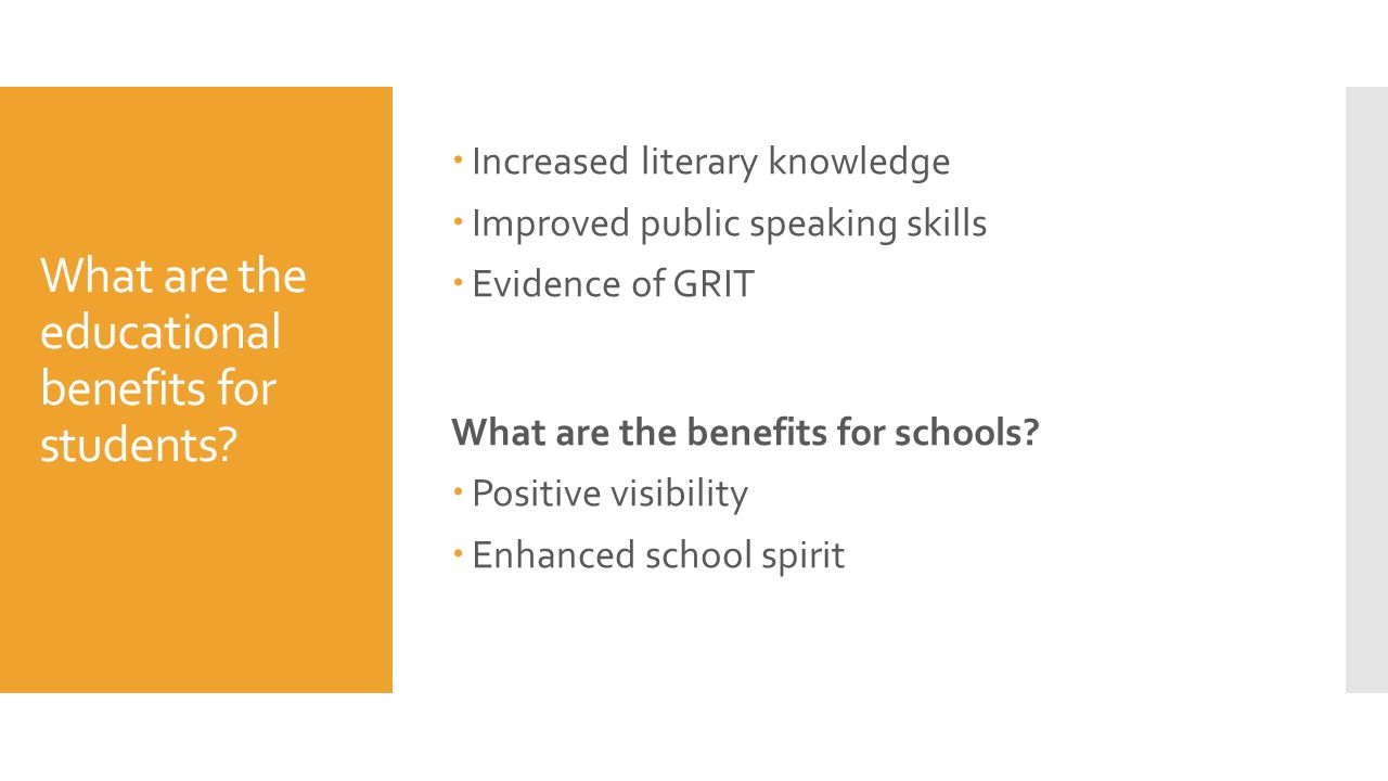 What are the educational benefits for students.