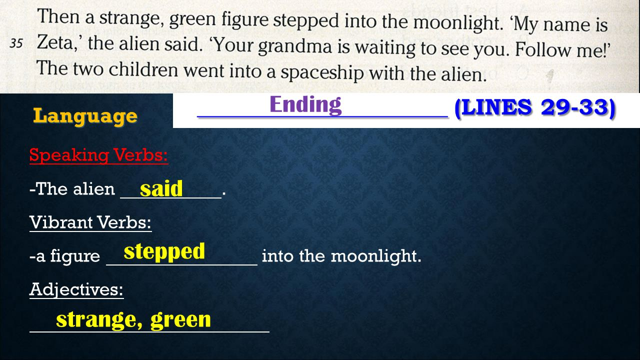 ______________________ (LINES 29-33) Ending Language Speaking Verbs: -The alien. Vibrant Verbs: -a figure into the moonlight. Adjectives: said stepped