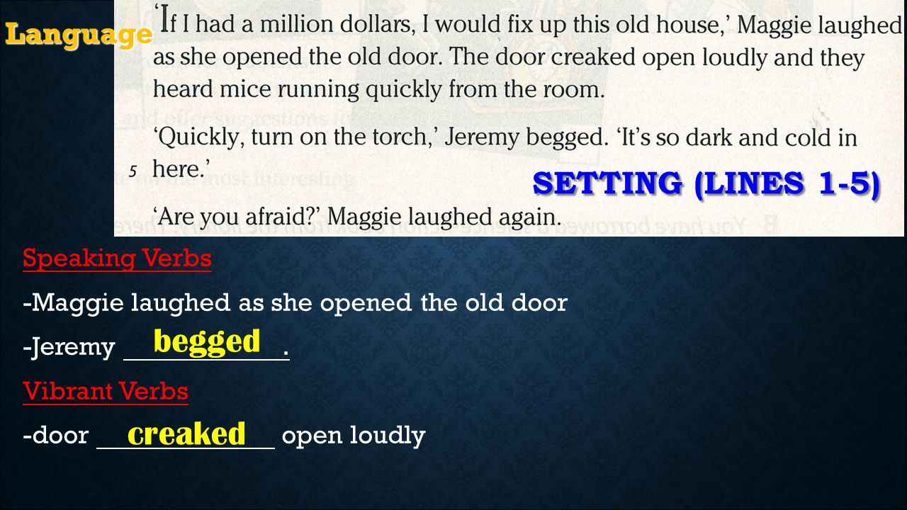 Speaking Verbs -Maggie laughed as she opened the old door -Jeremy.