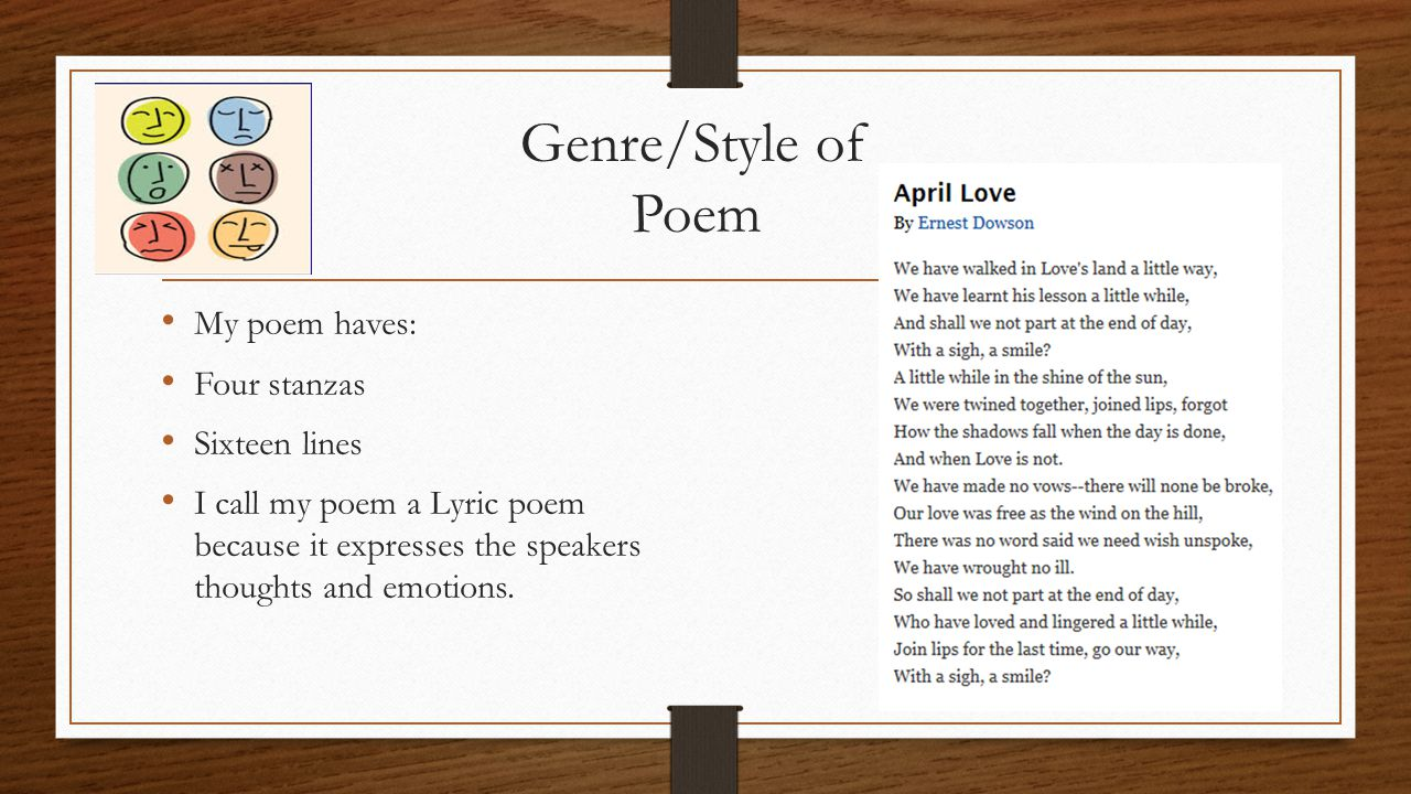 Poetic Terms for Each Stanza Stanza 1 and 2 ABABCDCDABABCDCD End Rhyme: at every line it has a rhyme Personification: in line one love is capitalized that could mean that it is a big thing about the poem.