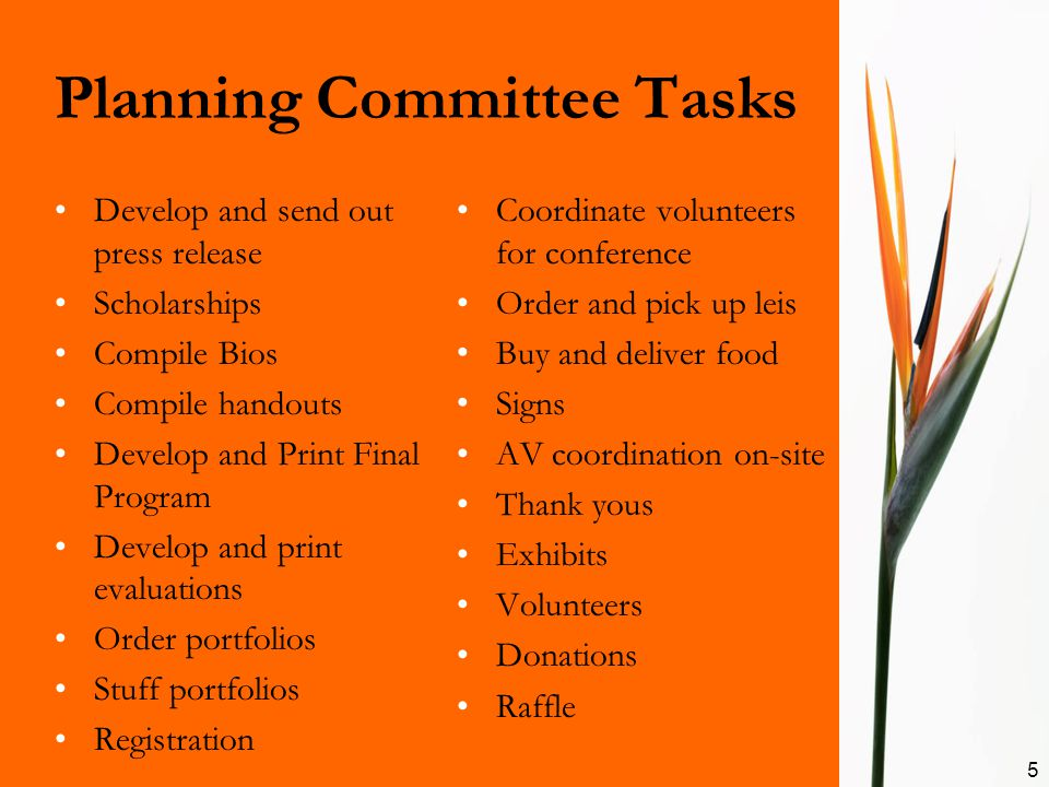 Planning Committee Tasks Develop and send out press release Scholarships Compile Bios Compile handouts Develop and Print Final Program Develop and pri