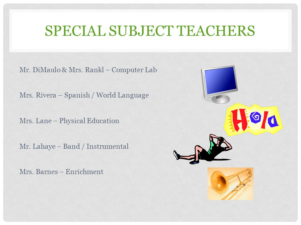 SPECIAL SUBJECT TEACHERS Mr. DiMaulo & Mrs. Rankl – Computer Lab Mrs. Rivera – Spanish / World Language Mrs. Lane – Physical Education Mr. Lahaye – Ba
