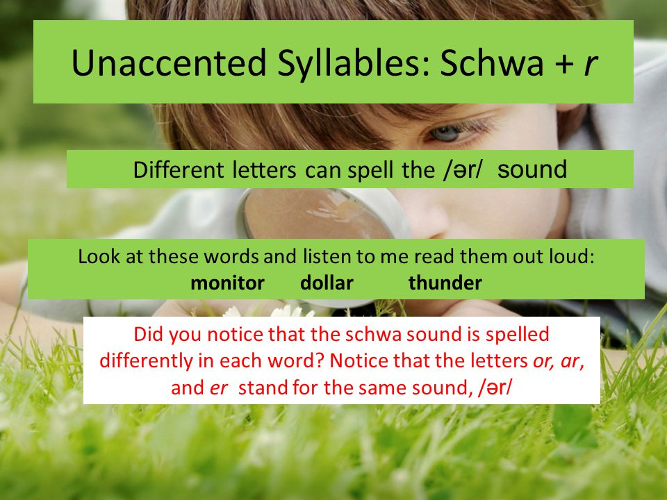 Unaccented Syllables: Schwa + r Different letters can spell the / ər/ sound Look at these words and listen to me read them out loud: monitor dollar th