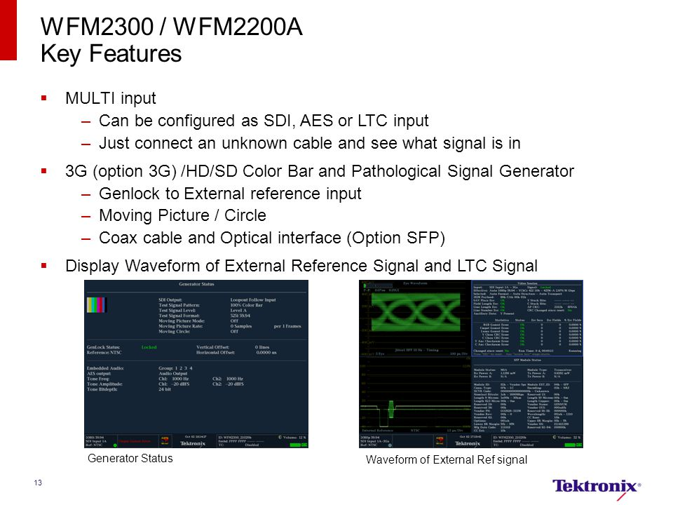 13 WFM2300 / WFM2200A Key Features  MULTI input –Can be configured as SDI, AES or LTC input –Just connect an unknown cable and see what signal is in