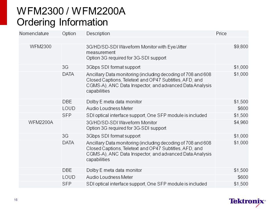 16 WFM2300 / WFM2200A Ordering Information NomenclatureOptionDescriptionPrice WFM2300 3G/HD/SD-SDI Waveform Monitor with Eye/Jitter measurement Option