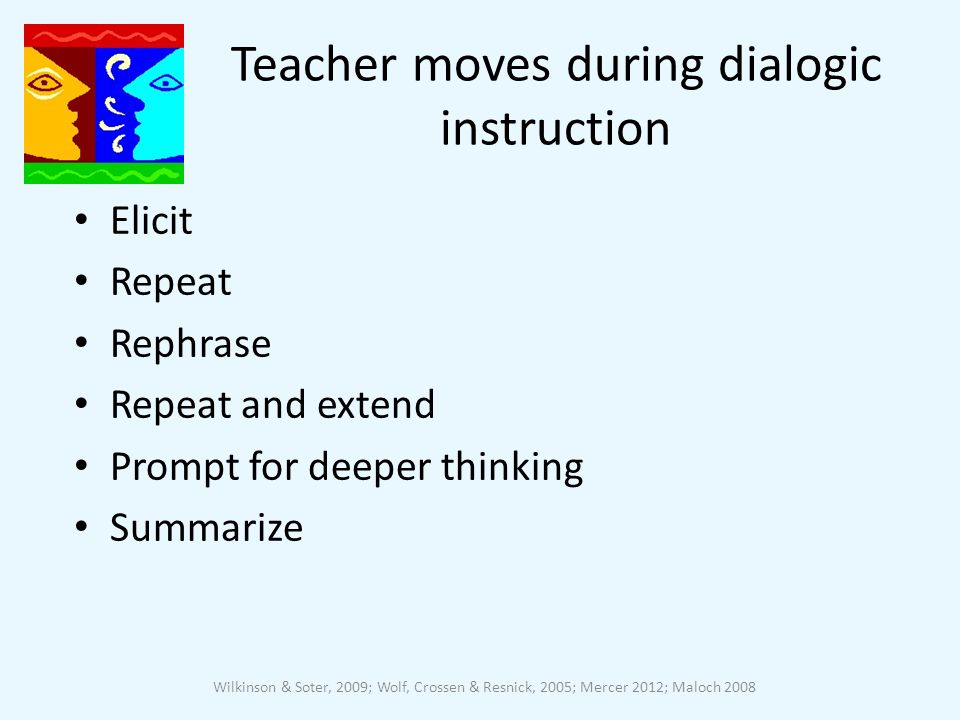 Teacher moves during dialogic instruction Elicit Repeat Rephrase Repeat and extend Prompt for deeper thinking Summarize Wilkinson & Soter, 2009; Wolf, Crossen & Resnick, 2005; Mercer 2012; Maloch 2008