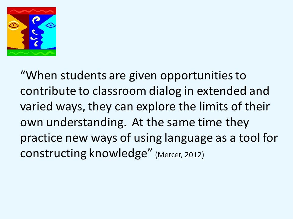 When students are given opportunities to contribute to classroom dialog in extended and varied ways, they can explore the limits of their own understanding.