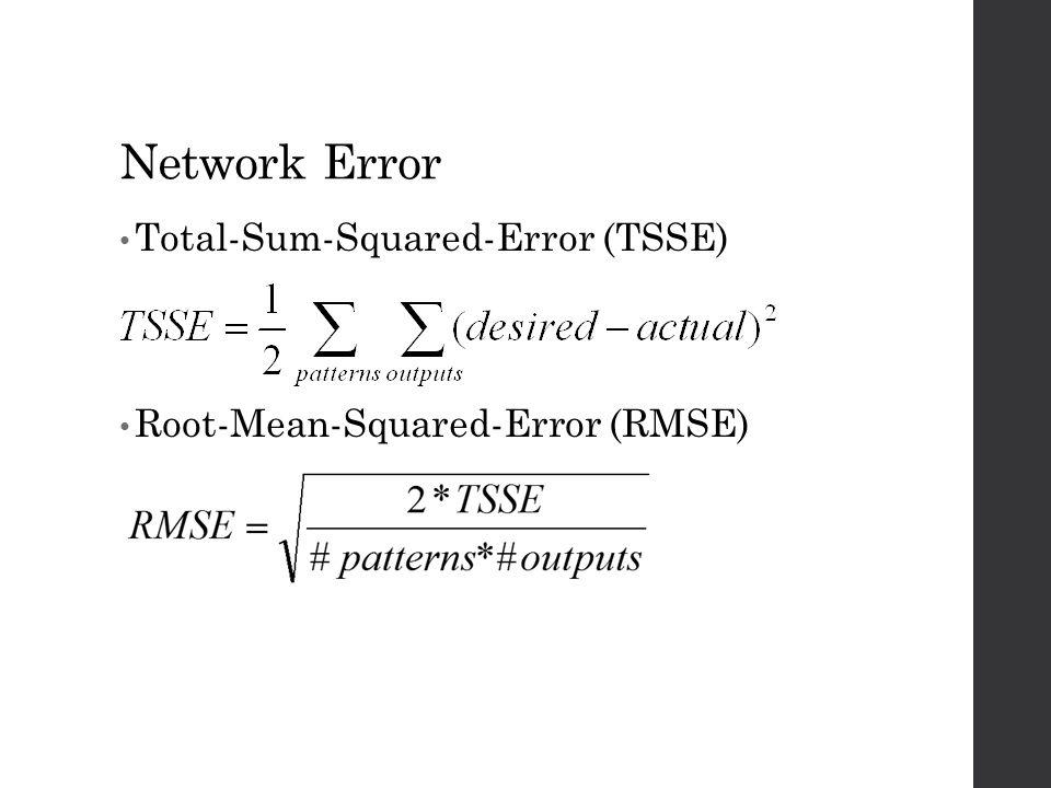 Network Error Total-Sum-Squared-Error (TSSE) Root-Mean-Squared-Error (RMSE)