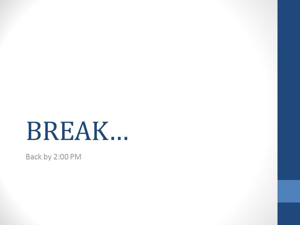 BREAK… Back by 2:00 PM