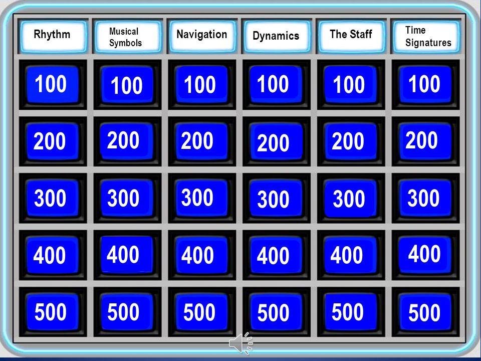 Rhythm Musical Symbols Navigation Dynamics The Staff Time Signatures 100 200 300 400 500 Rhythm 200 300 400 500 200 300 400 500 200 300 400 500 200 300 400 500 200 300 400 500