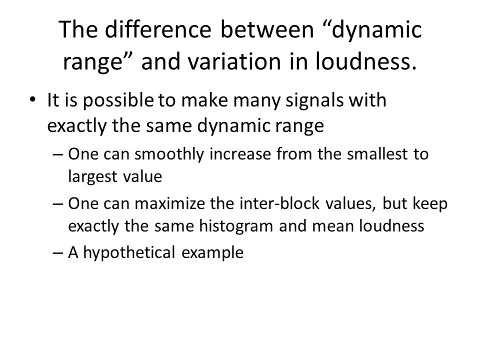"The difference between ""dynamic range"" and variation in loudness. It is possible to make many signals with exactly the same dynamic range – One can sm"