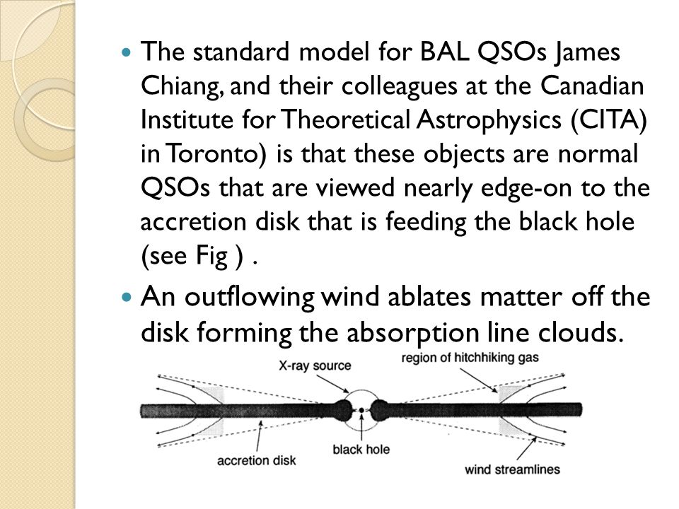 The standard model for BAL QSOs James Chiang, and their colleagues at the Canadian Institute for Theoretical Astrophysics (CITA) in Toronto) is that these objects are normal QSOs that are viewed nearly edge-on to the accretion disk that is feeding the black hole (see Fig ).