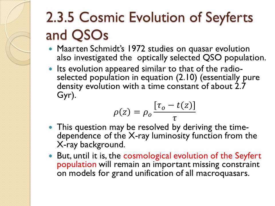 2.3.5 Cosmic Evolution of Seyferts and QSOs