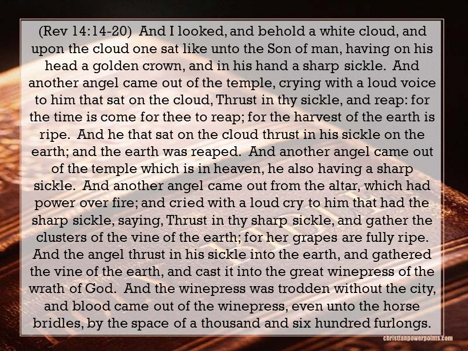 (Rev 14:14-20) And I looked, and behold a white cloud, and upon the cloud one sat like unto the Son of man, having on his head a golden crown, and in his hand a sharp sickle.