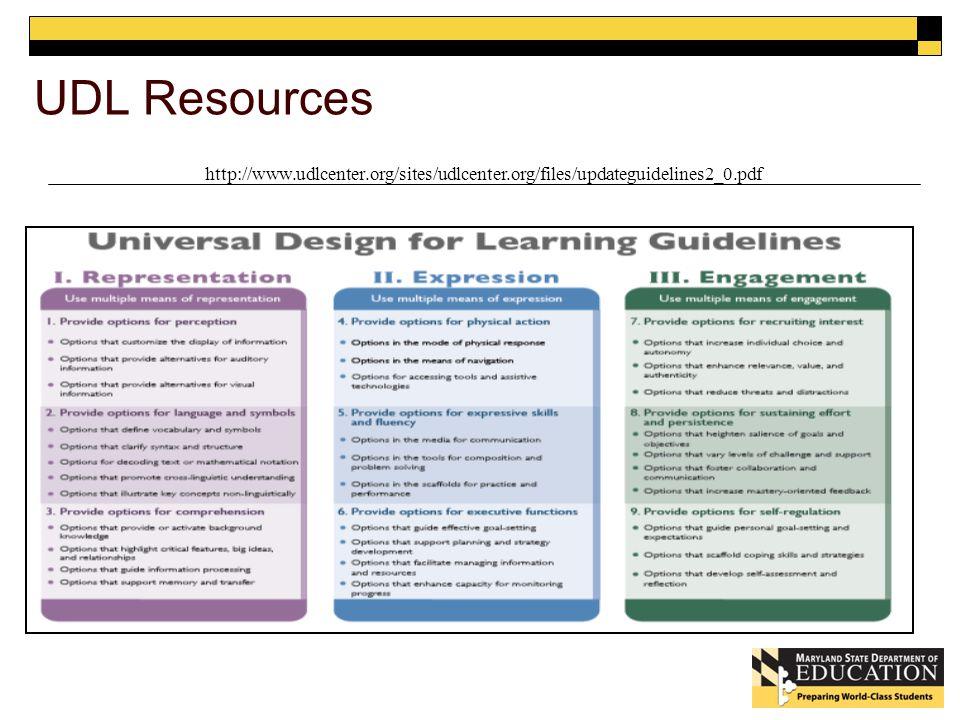 UDL Resources http://www.udlcenter.org/sites/udlcenter.org/files/updateguidelines2_0.pdf
