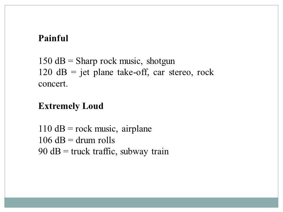 Painful 150 dB = Sharp rock music, shotgun 120 dB = jet plane take-off, car stereo, rock concert. Extremely Loud 110 dB = rock music, airplane 106 dB