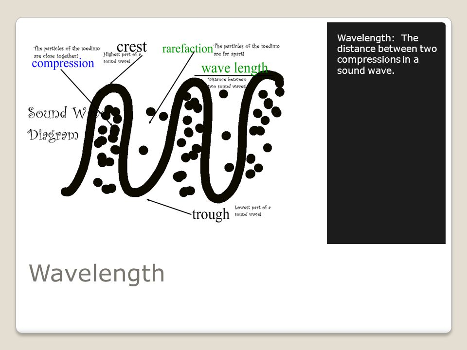 Wavelength Wavelength: The distance between two compressions in a sound wave.