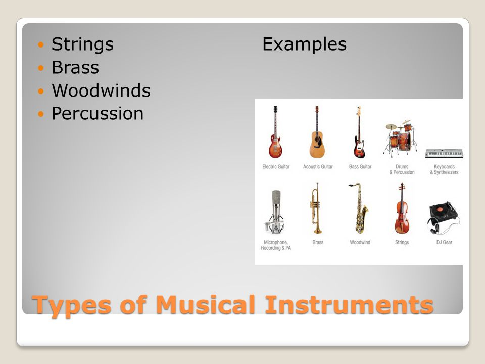 Types of Musical Instruments Strings Brass Woodwinds Percussion Examples