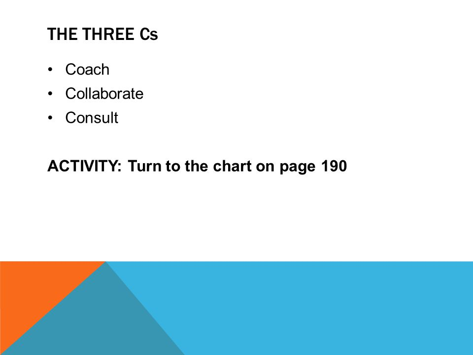THE THREE Cs Coach Collaborate Consult ACTIVITY: Turn to the chart on page 190