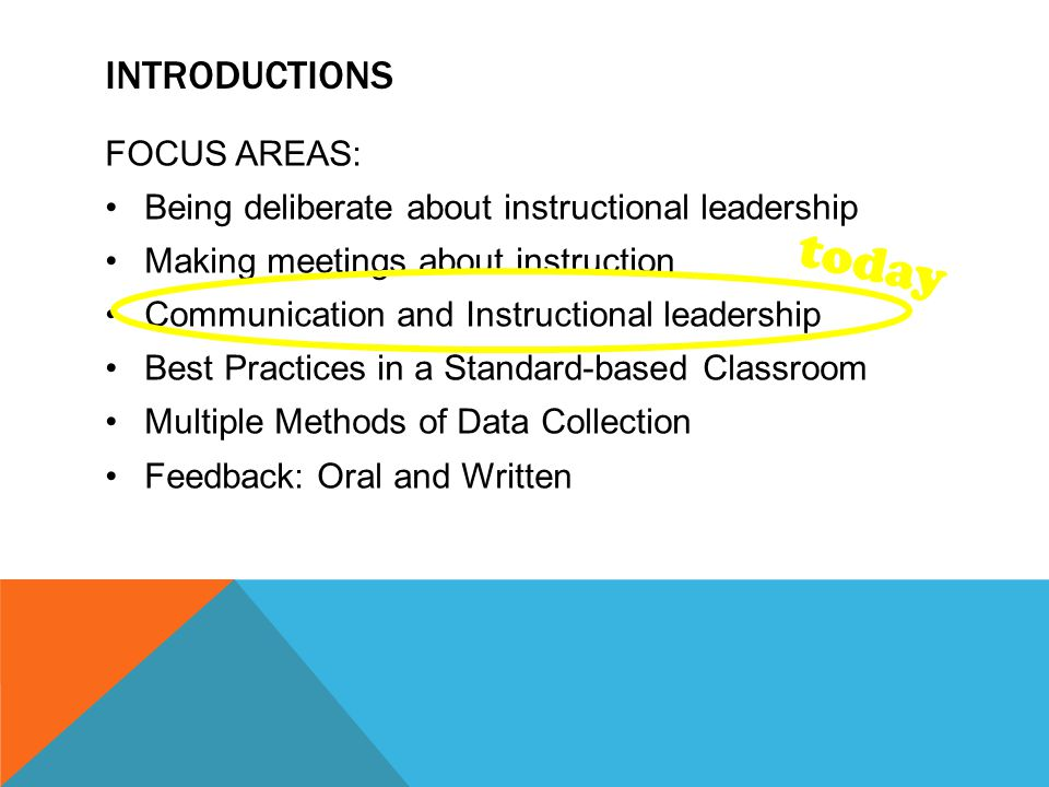 INTRODUCTIONS FOCUS AREAS: Being deliberate about instructional leadership Making meetings about instruction Communication and Instructional leadership Best Practices in a Standard-based Classroom Multiple Methods of Data Collection Feedback: Oral and Written today