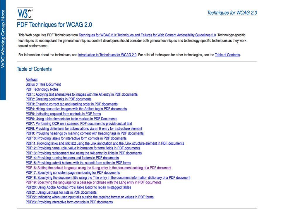 PDF Techniques for WCAG 2.0