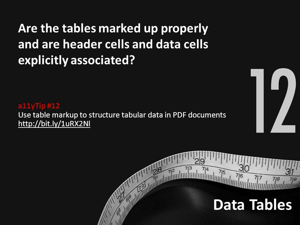 Data Tables Are the tables marked up properly and are header cells and data cells explicitly associated.