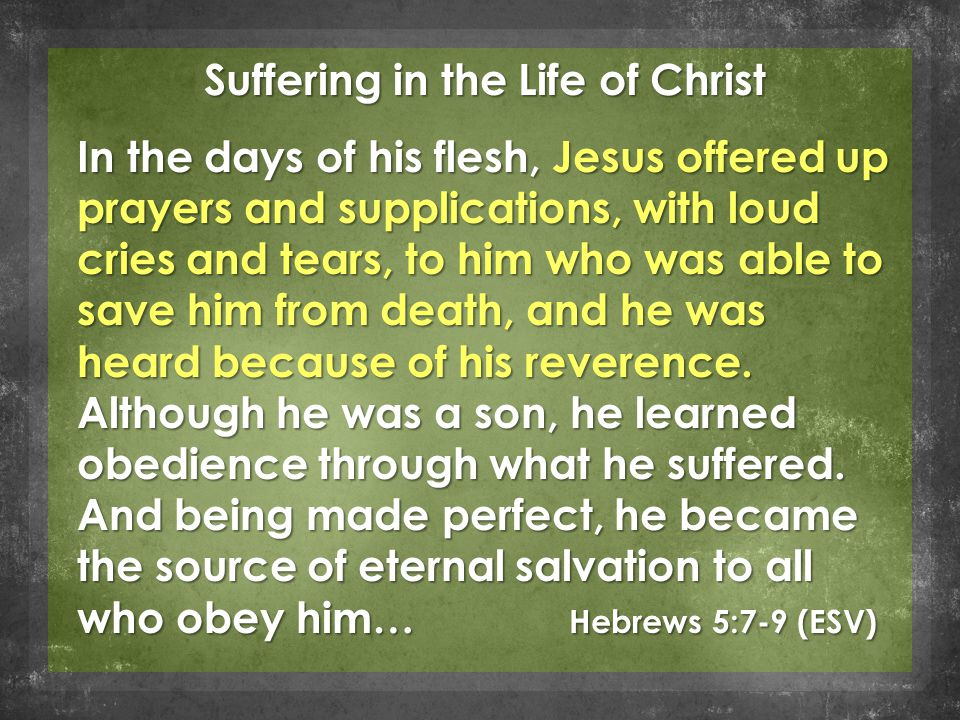 Suffering in the Life of Christ In the days of his flesh, Jesus offered up prayers and supplications, with loud cries and tears, to him who was able t