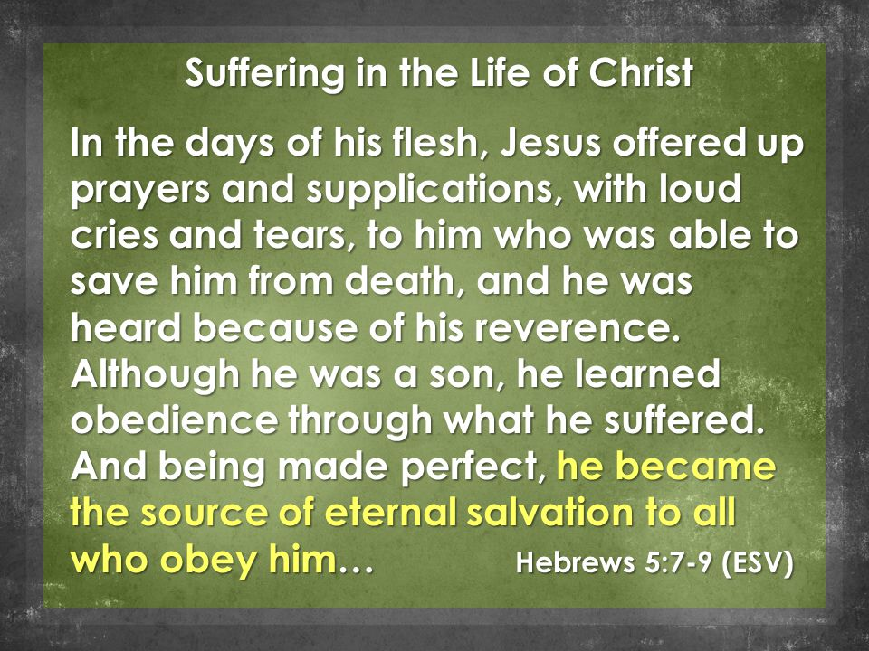 Suffering in the Life of Christ In the days of his flesh, Jesus offered up prayers and supplications, with loud cries and tears, to him who was able to save him from death, and he was heard because of his reverence.