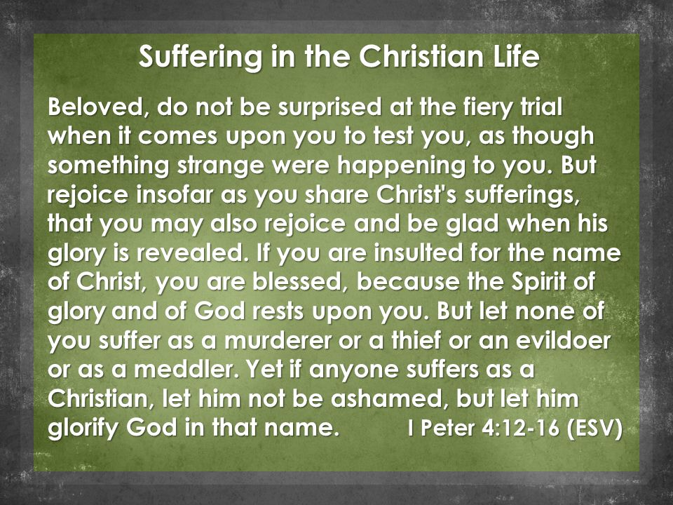 Suffering in the Christian Life Beloved, do not be surprised at the fiery trial when it comes upon you to test you, as though something strange were happening to you.