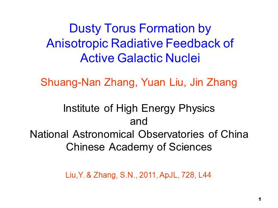 1 Dusty Torus Formation by Anisotropic Radiative Feedback of Active Galactic Nuclei Shuang-Nan Zhang, Yuan Liu, Jin Zhang Institute of High Energy Phy