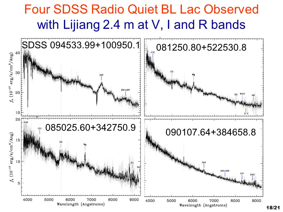 18/21 Four SDSS Radio Quiet BL Lac Observed with Lijiang 2.4 m at V, I and R bands SDSS 094533.99+100950.1 081250.80+522530.8 085025.60+342750.9090107