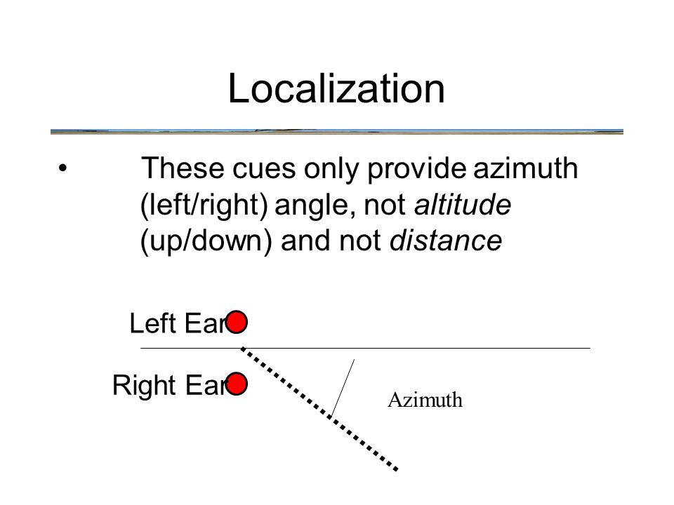 These cues only provide azimuth (left/right) angle, not altitude (up/down) and not distance Localization Left Ear Right Ear Azimuth
