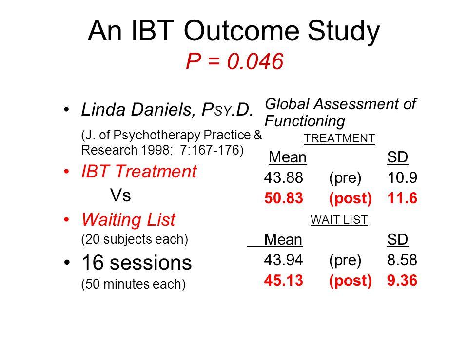 An IBT Outcome Study P = 0.046 Linda Daniels, P SY.D.