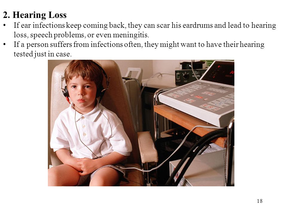 18 2. Hearing Loss If ear infections keep coming back, they can scar his eardrums and lead to hearing loss, speech problems, or even meningitis. If a