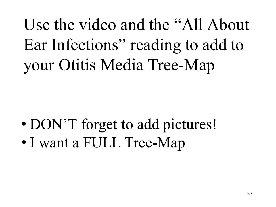 """Use the video and the """"All About Ear Infections"""" reading to add to your Otitis Media Tree-Map 23 DON'T forget to add pictures! I want a FULL Tree-Map"""
