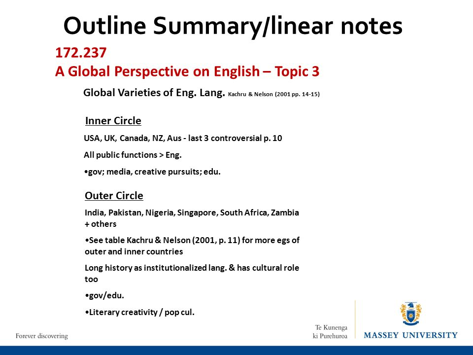 Outline Summary/linear notes 172.237 A Global Perspective on English – Topic 3 Global Varieties of Eng.