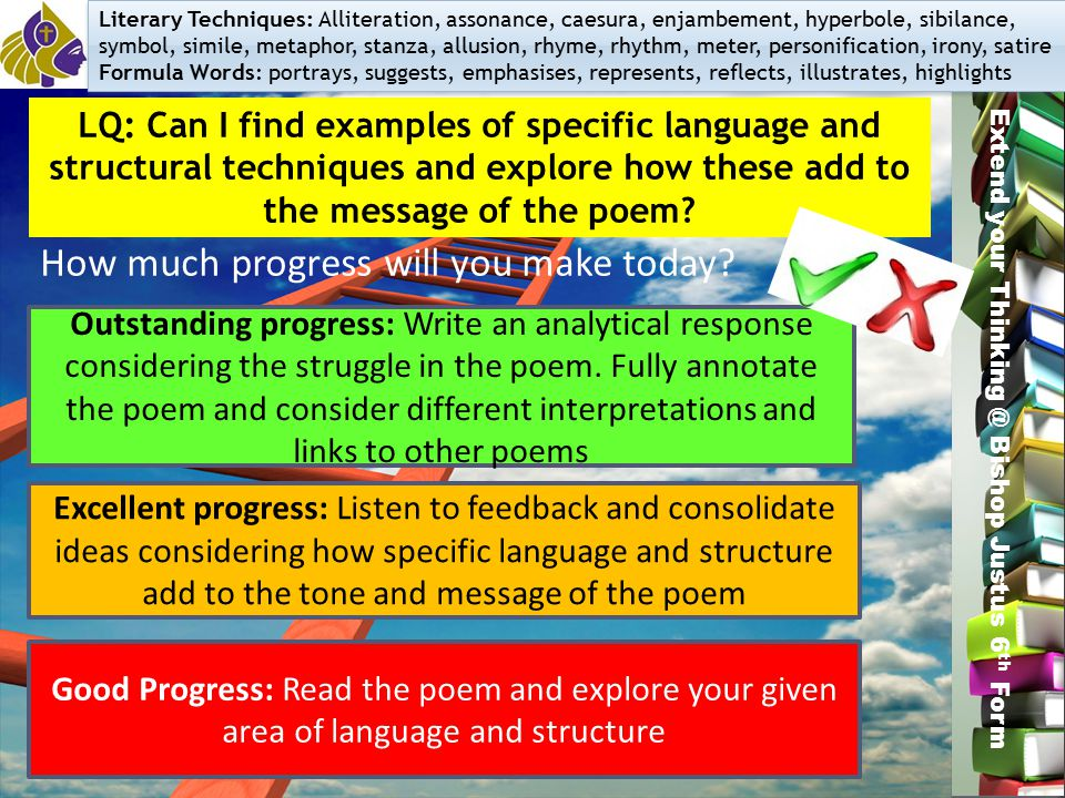Good Progress: Read the poem and explore your given area of language and structure Excellent progress: Listen to feedback and consolidate ideas consid
