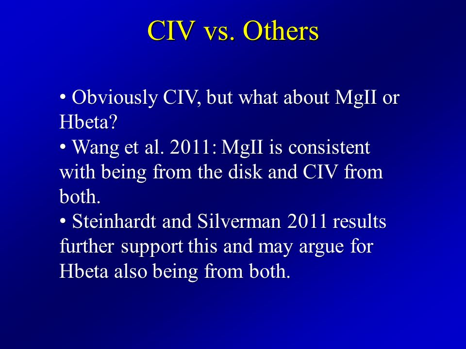 CIV vs. Others Obviously CIV, but what about MgII or Hbeta.