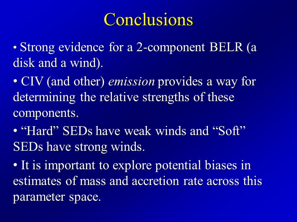 Conclusions Strong evidence for a 2-component BELR (a disk and a wind).